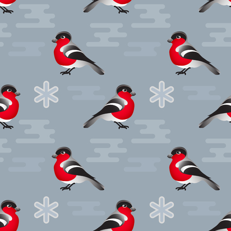 Vector winter seamless pattern. Include bullfinch and snowflake Illustration