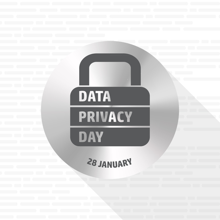Data Privacy Day. Vector lock sign.