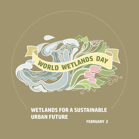 World Wetlands Day. Wave and reed.