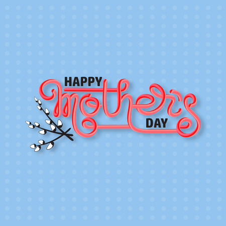 Happy Mothers Day. Handwritten lettering isolated on blue.