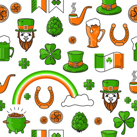 Vector seamless pattern of St. Patricks Day on white background.