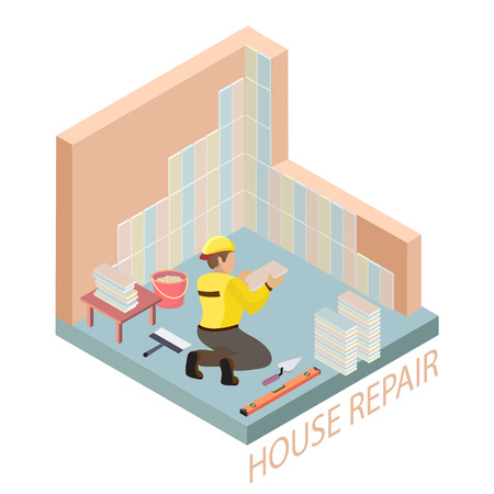Isometric interior repairs concept. Tiler is tying colorful tile