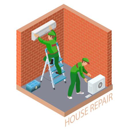 Isometric interior repairs concept. System of air conditioning. Vettoriali