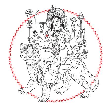 Hindy Goddess Durga sitting on the tiger. Illustration