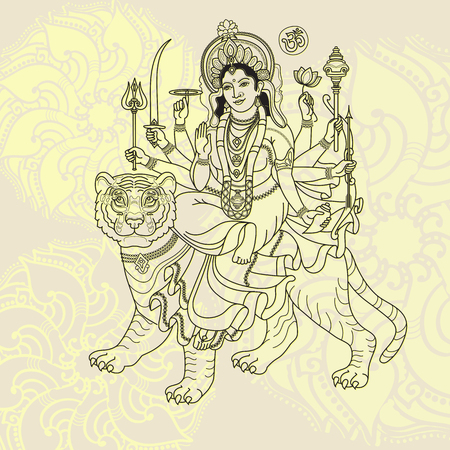 Hindy Goddess Durga sitting on the tiger. Illusztráció