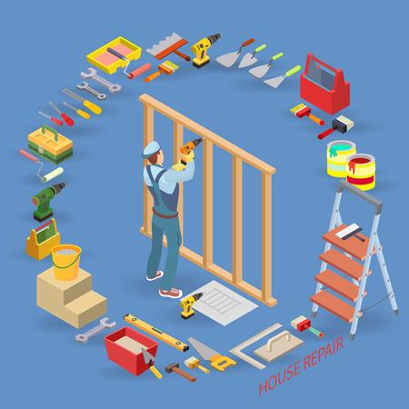 Home repair isometric template. Illustration