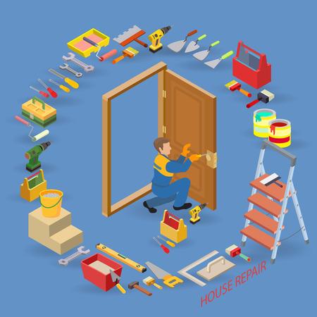 Isometric interior repairs concept. Worker installs a door knob. Ilustração