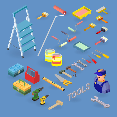 Vector set of tools, equipment and items isometric icons.