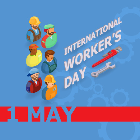 International workers day illustration, group of workers. Stock Illustratie