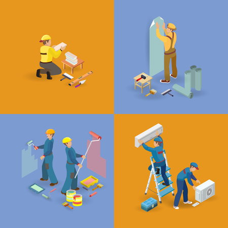 Isometric interior repairs icons set. Workers, tools Vector illustration. Ilustrace