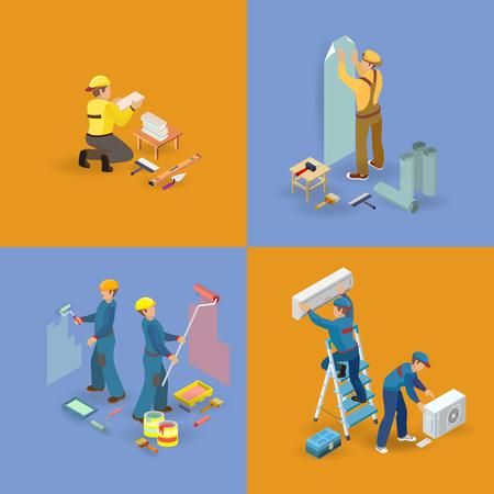 Isometric interior repairs icons set. Workers, tools Vector illustration. Иллюстрация