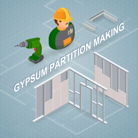 Gypsum partition making concept vector illustration. Isometric concept.