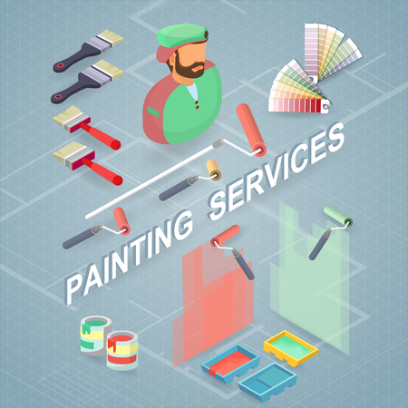 Painting services vector illustration. Isometric building concept.