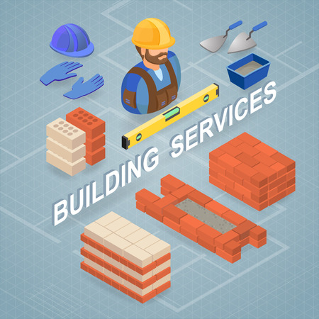 Building services. Isometric concept. Worker, tools, bricks.