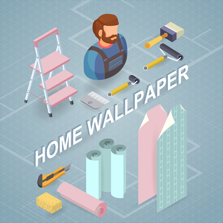 Building services isometric concept. Worker, equipment. Illustration