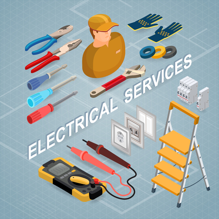 Electrical services. Isometric concept. Worker, equipment. Illustration