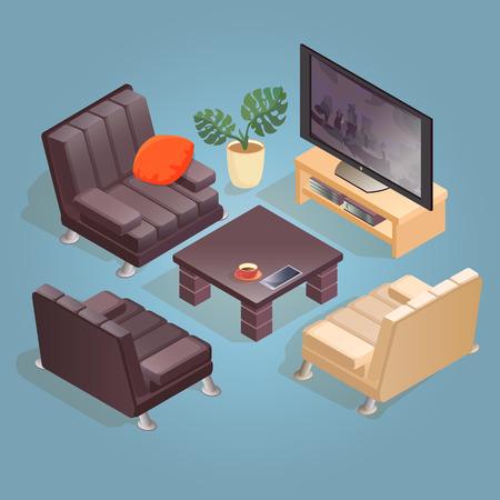 Isometric cartoon armchair, TV,  icon isolated on blue.