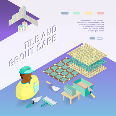 Tile and grout care Isometric concept.