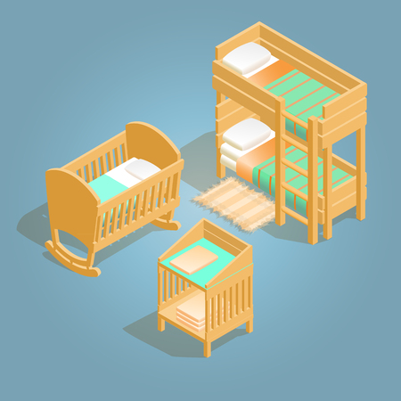 Bunk bed, baby crib, changing table isometric icon.