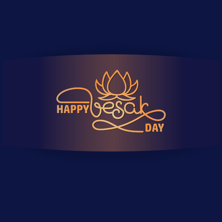 Happy Vesak Day card. Handwritten lettering with lotus. Illustration