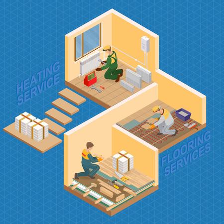 Isometric interior repairs concept. Vector flat 3d illustration.