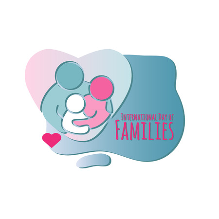 International Day of Families. Family icon. Vector illustration on white background. Decoration graphic element. Mother, father and child silhouette.