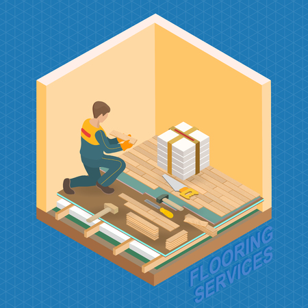 Home repair isometric template. The Repairer is laying parquet on prepared lined insulated base of the premises. Builder in uniform holds a wooden parquet. Parquet service. Vector flat 3d illustration Illusztráció