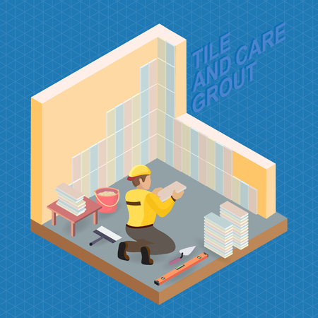 Isometric interior repairs concept. Tiler is tying colorful tile on the corner of the premises. Builder in uniform holds a  tile. Worker, tools and fragment of interior. Vector flat 3d illustration.