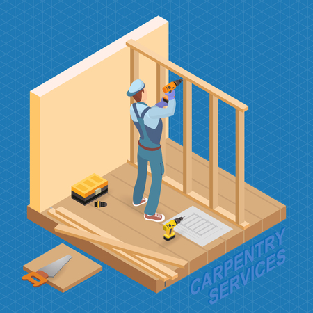 Home repair isometric template. Builder with tool near the wooden partition. Repairer in uniform holds a drill. Carpenter builds a wooden construction. There are tool-box, boards and drill . Vector.