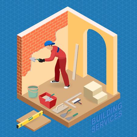 Isometric interior repairs concept. Builder is plastering.