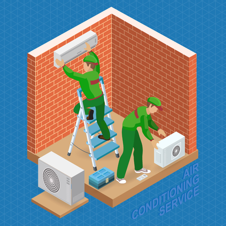 Isometric interior repairs concept. System of air conditioning.  イラスト・ベクター素材