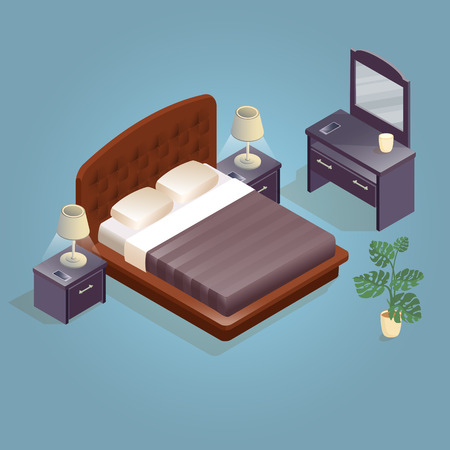 Isometric cartoon double king size beds isolated on blue. Illustration