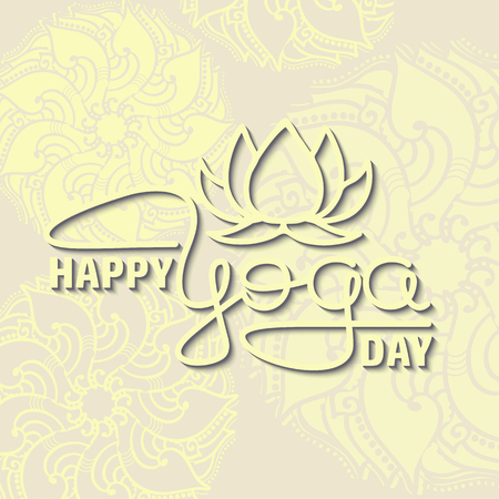 International Yoga Day. Lotus flower and handwritten lettering.