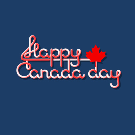 Happy Canada Day lettering isolated on blue.  Vector. Illustration