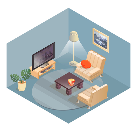 Living room items and furniture isometric icons. Illustration