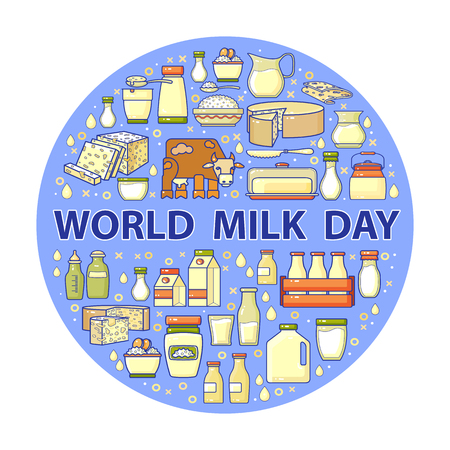 World milk day card. Vector set of dairy icons. 向量圖像