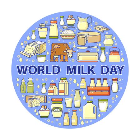 World milk day card. Vector set of dairy icons. Illusztráció