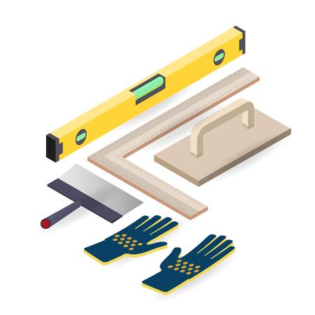 Spatula, level, glove. Isometric construction tools. Vector.