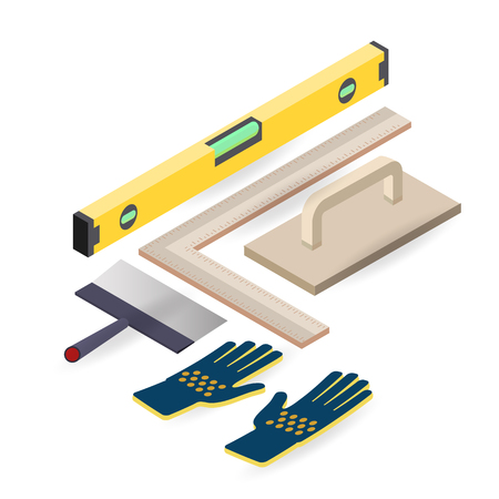 Spatula, level, glove. Isometric construction tools. Vector.