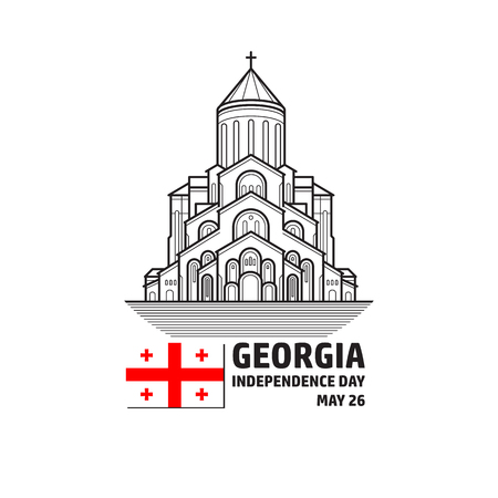 Georgia Independence Day greeying card. Vector. Flag and church