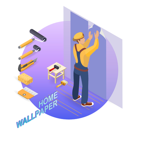 Isometric interior repairs concept. Builder pastes the wall Banco de Imagens - 102823921