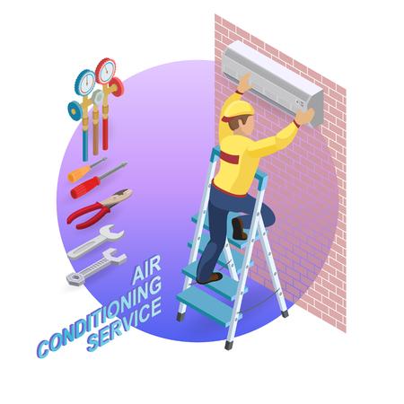 Isometric interior repairs concept. System of air conditioning. 写真素材