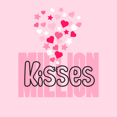 Million Kisses card with handwritten word, hearts and stars. Иллюстрация