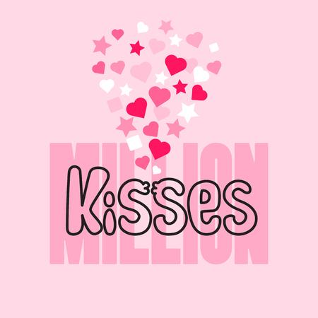 Million Kisses Karte mit handgeschriebenem Wort, Herzen und Sternen.
