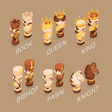 Isometric cartoon chess pieces.