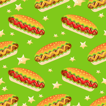 Vector Seamless  pattern with big hot dog.