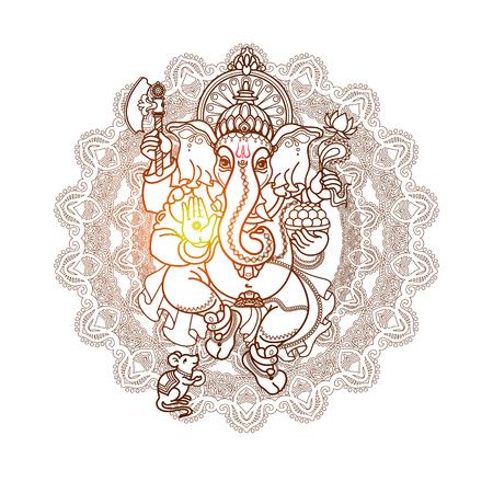Hindu God Ganesha. Hand drawn tribal style. Illustration