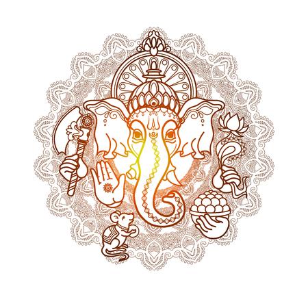 Hindu God Ganesha. Hand drawn tribal style.
