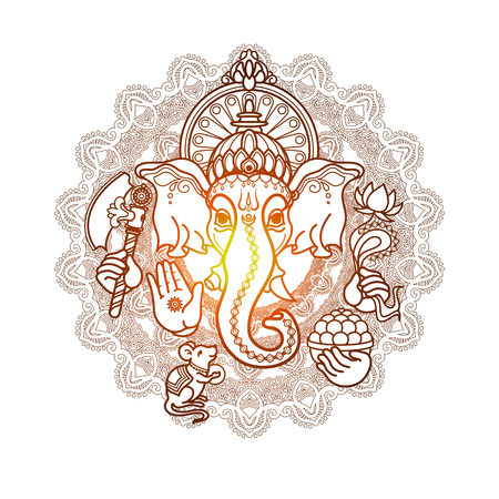 Hindu God Ganesha. Hand drawn tribal style. Illustration