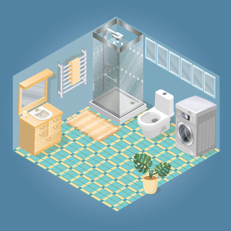 Bathroom items and furniture isometric icon set. 스톡 콘텐츠